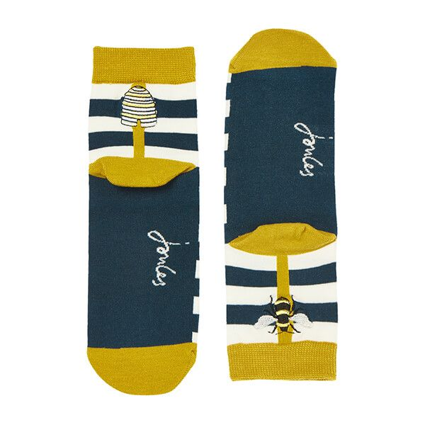 Joules Bee Stripe Brill Bamboo Embroidered Socks Size 4-8