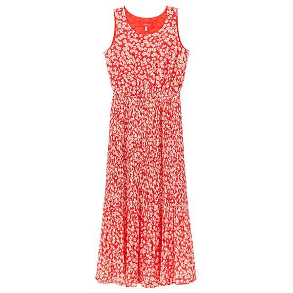 Joules Red Floral Aileen Sleeveless Elasticated Waist Dress