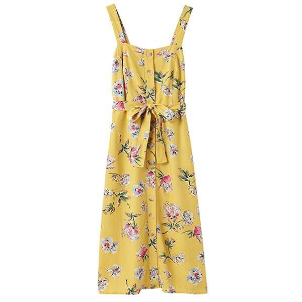Joules Lemon Floral Kimia Button Through Strappy Dress With Waist Tie