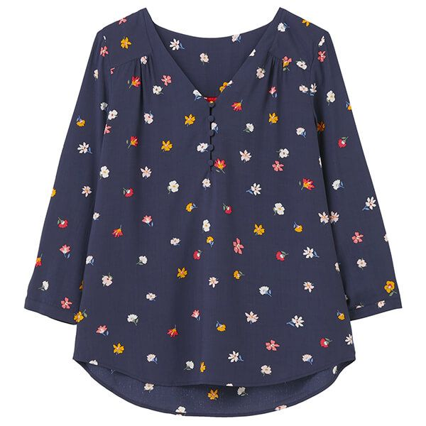 Joules Multi Ditsy Briella V Neck Long Sleeve Woven Top
