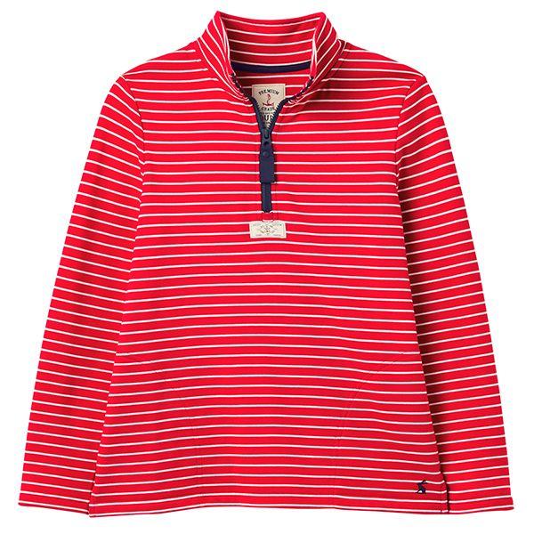 Joules Red Cream Stripe Pip Casual Half Zip Sweatshirt