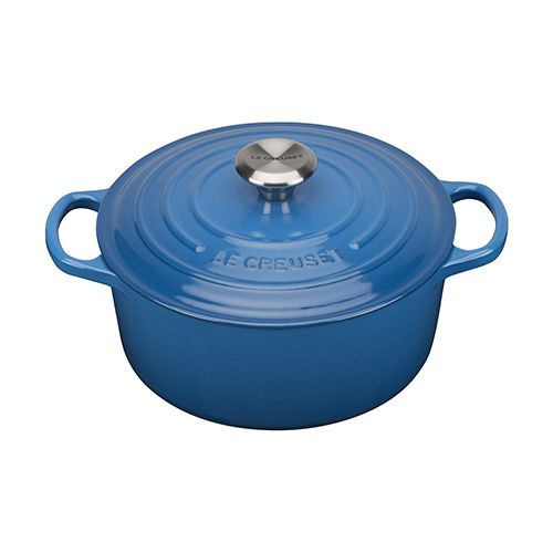 Le Creuset Signature Marseille Blue Cast Iron 24cm Round Casserole With FREE Gift