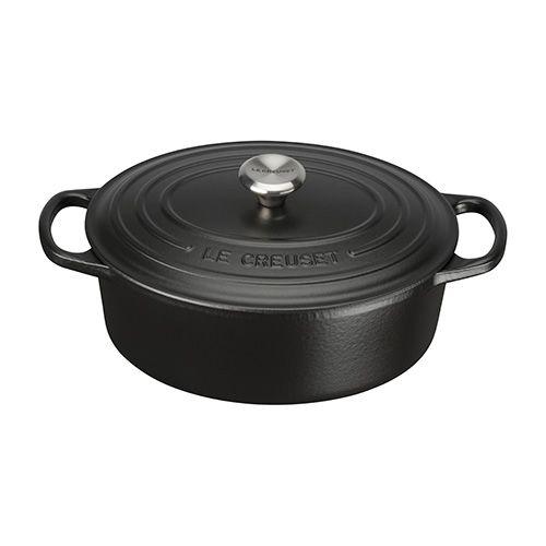 Le Creuset Signature Satin Black Cast Iron 25cm Oval Casserole