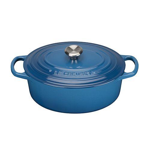 Le Creuset Signature Marseille Blue Cast Iron 25cm Oval Casserole