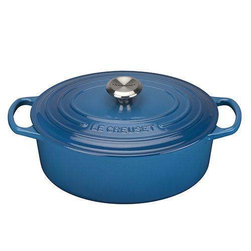 Le Creuset Signature Marseille Blue Cast Iron 29cm Oval Casserole