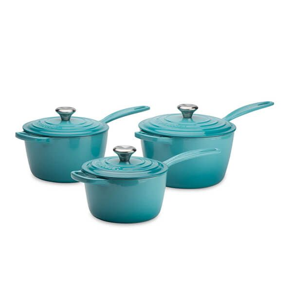 Le Creuset Signature Teal Cast Iron Saucepan Set