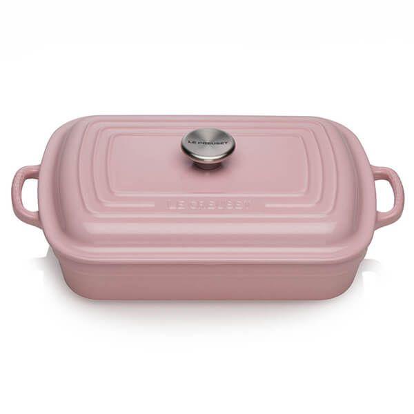 Le Creuset Chiffon Pink Cast Iron 29cm Shallow Rectangular Cocotte