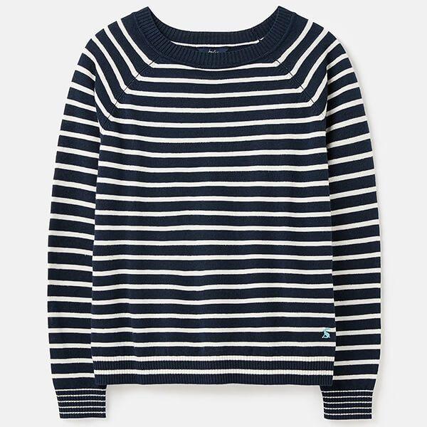 Joules Navy Cream Stripe Vicky Knitted Linen Blend Jumper