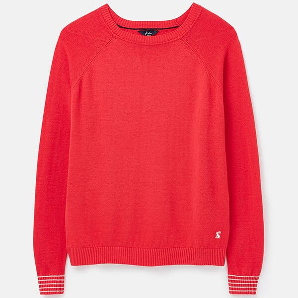 Joules Red Vicky Knitted Linen Blend Jumper