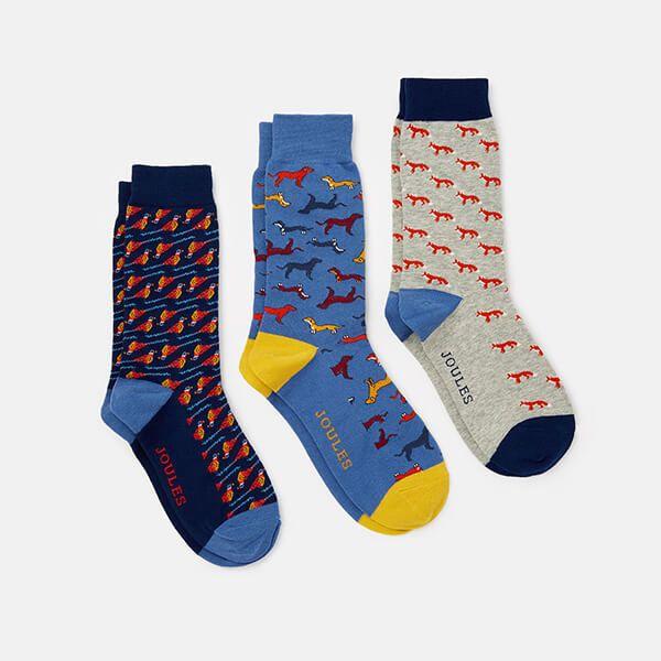 Joules Multi Animal 3 Pack of Striking Socks