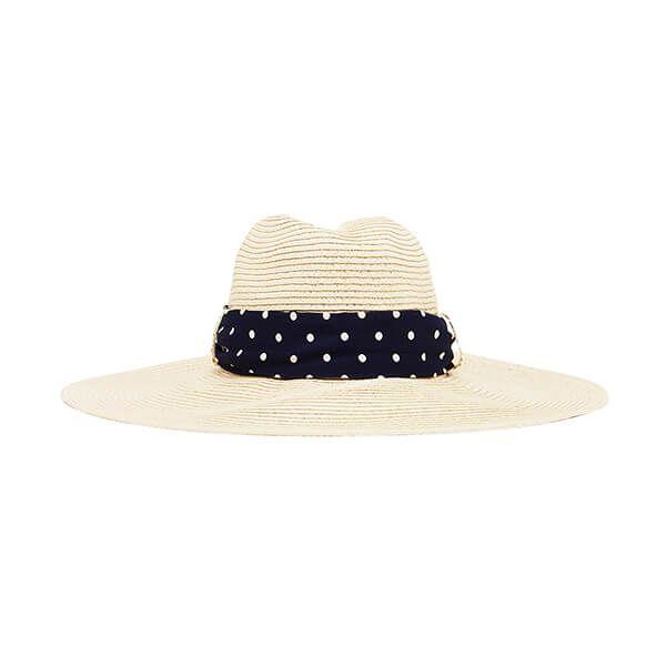 Joules Navy Cream Stripe Sia Wide Fedora Hat