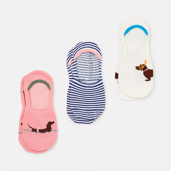 Joules Cream Swimming Dog Invisible Socks