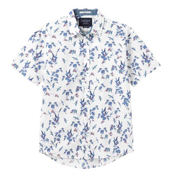 Joules White Jungle Lloyd Slub Short Sleeve Classic Fit Printed Shirt