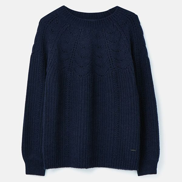 Joules French Navy Jenna Knitted Pointelle Stitch Jumper Size 14