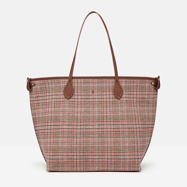 Joules Pink Tweed Fulbrook Tweed Tote Bag