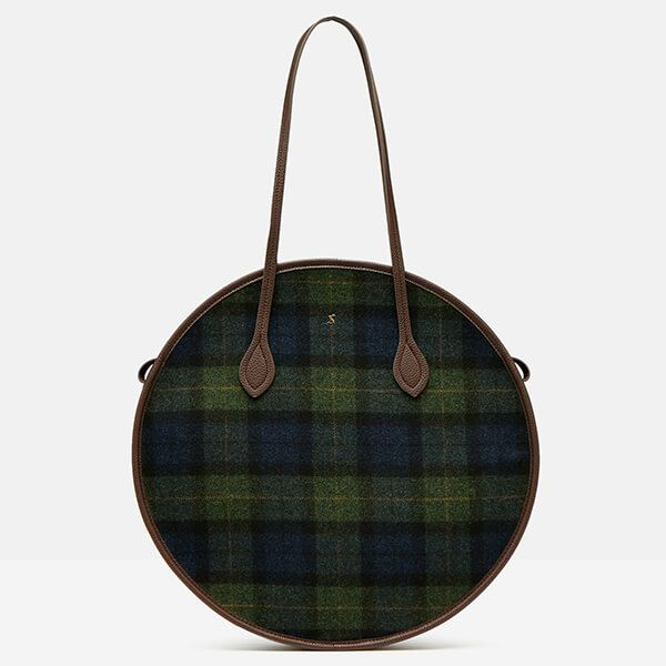 Joules Navy Green Check Tweed Fulbrook Round Bag