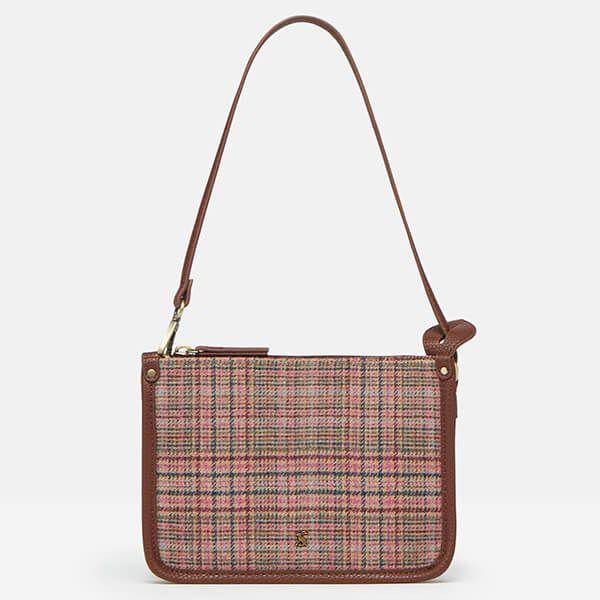 Joules Pink Tweed Fulbrook Underarm Tweed Bag