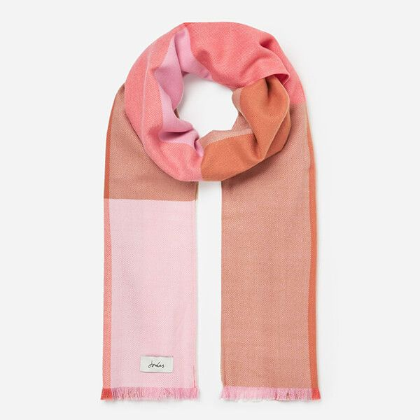 Joules Pink White Check Bridey Checked Scarf