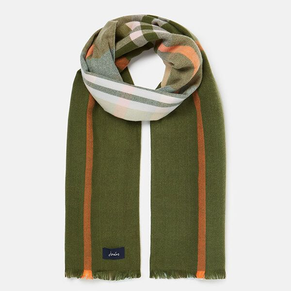 Joules Green Pink Bridey Checked Scarf
