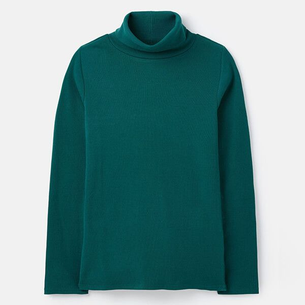 Joules Bottle Green Clarissa Roll Neck Jersey Top Size 14