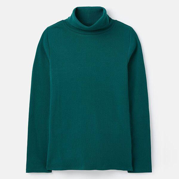 Joules Bottle Green Clarissa Roll Neck Jersey Top Size 12