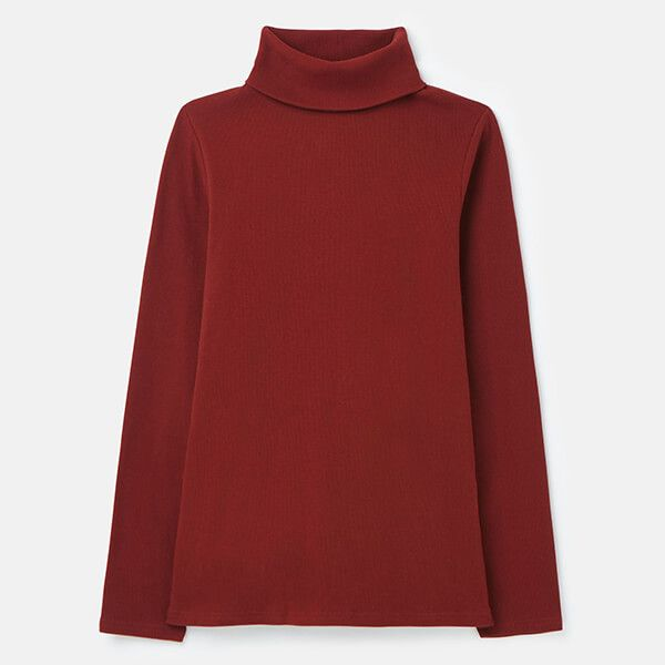 Joules Fired Brick Clarissa Roll Neck Jersey Top Size 14