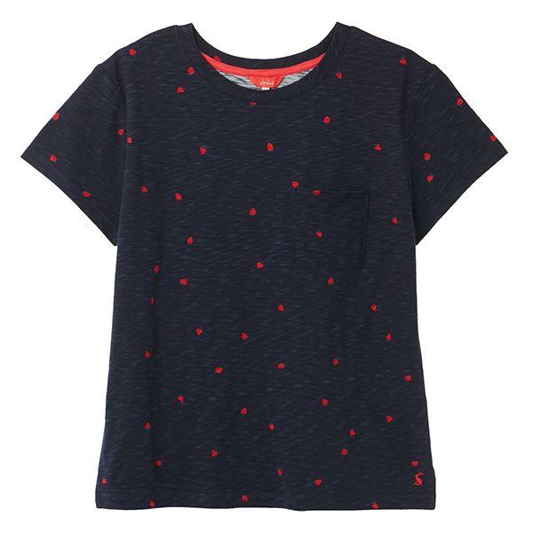Joules Navy Strawberry Sofi Print T-Shirt Size 14