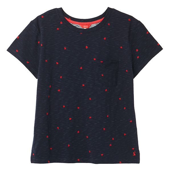 Joules Navy Strawberry Sofi Print T-Shirt Size 8