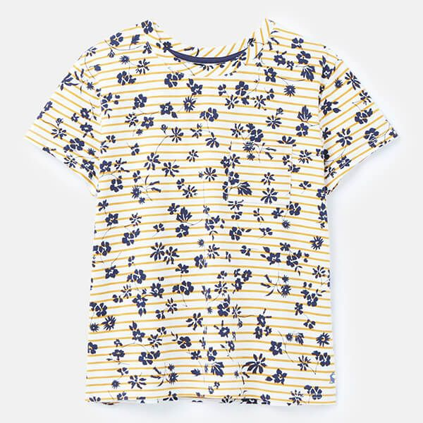 Joules Cream Gold Floral Stripe Sofi Print T-Shirt With Pocket Size 14