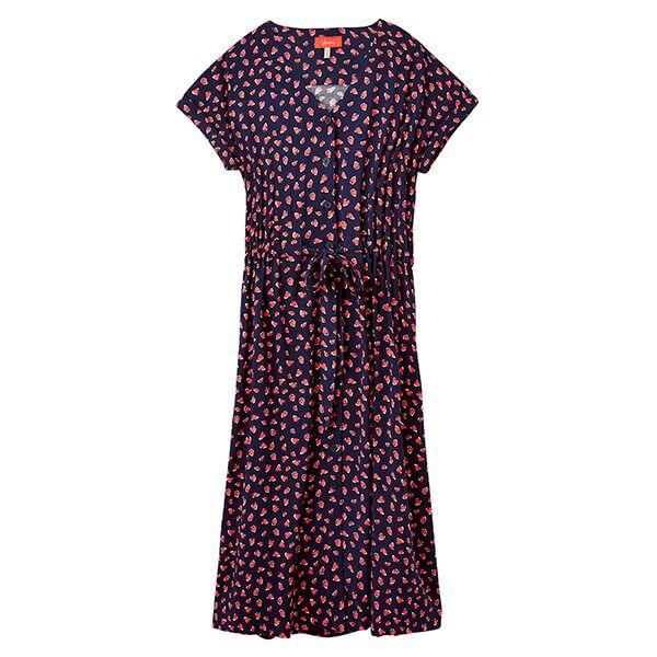 Joules Navy Straw Yasmine Button Through V Neck Dress