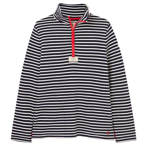 Joules Navy Cream Stripe Pip Casual Half Zip Sweatshirt