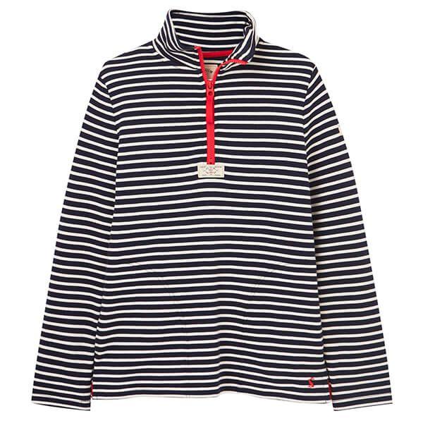Joules Navy Cream Stripe Pip Casual Half Zip Sweatshirt Size 10