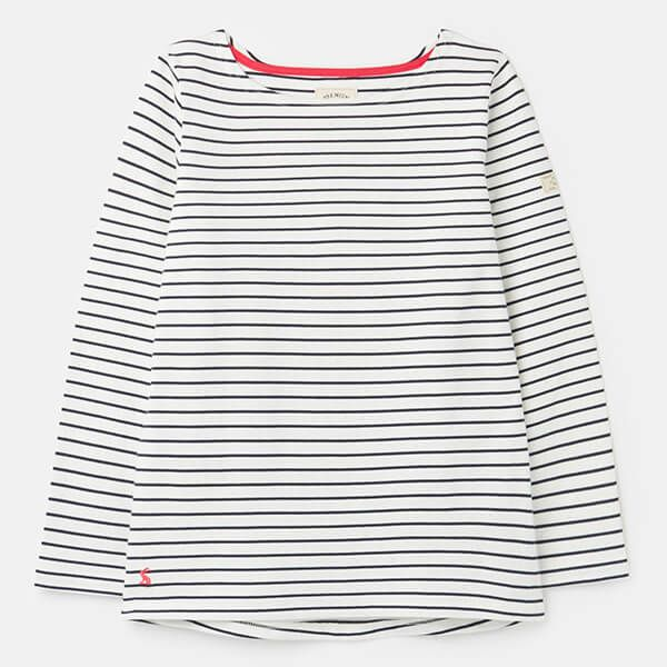 Joules Cream Navy Stripe Harbour Long Sleeve Jersey Top Size 10