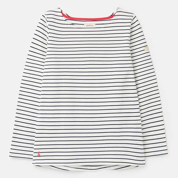 Joules Cream Navy Stripe Harbour Long Sleeve Jersey Top