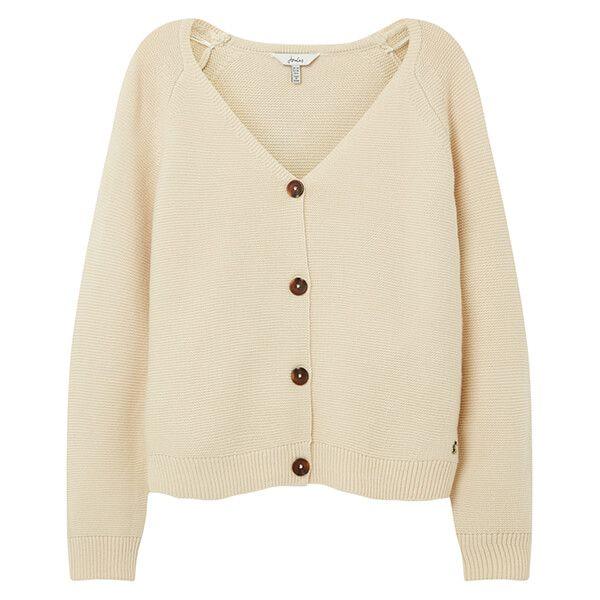 Joules Cream Jane Knitted Garter Stitch Cardigan
