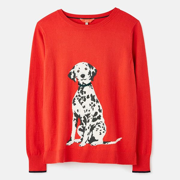 Joules Dalmatian Miranda Knitted Intarsia Crew Neck Jumper Size 14