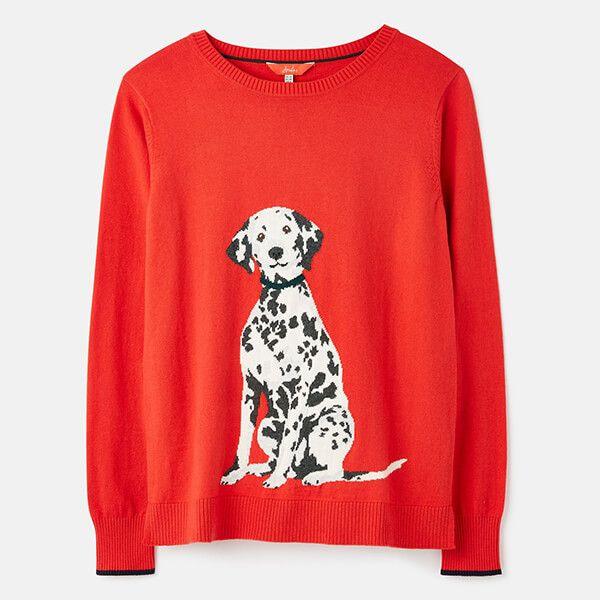Joules Dalmatian Miranda Knitted Intarsia Crew Neck Jumper Size 8