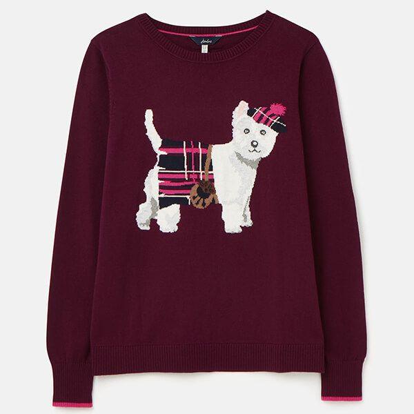 Joules Purple Dog Miranda Knitted Intarsia Crew Neck Jumper Size 14