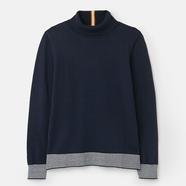 Joules French Navy Orianna Knitted Roll Neck Jumper Size 14