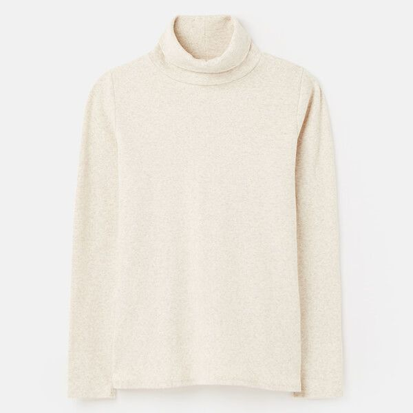 Joules Oatmeal Marl Clarissa Roll Neck Jersey Top Size 18