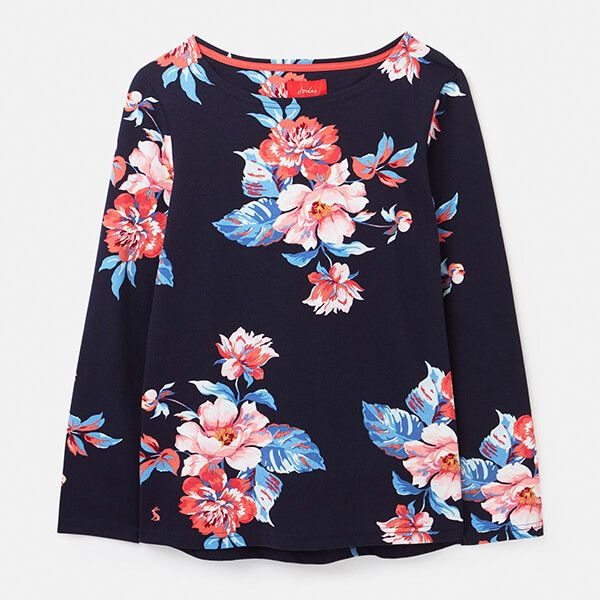 Joules Navy Floral Harbour Print Long Sleeve Jersey Top Size 20