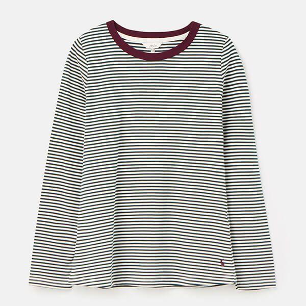 Joules Cream Green Stripe Selma Long Sleeve Jersey Top