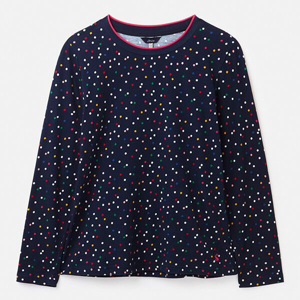 Joules Multi Spot Selma Print Long Sleeve Jersey Top Size 20