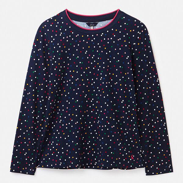 Joules Multi Spot Selma Print Long Sleeve Jersey Top Size 16