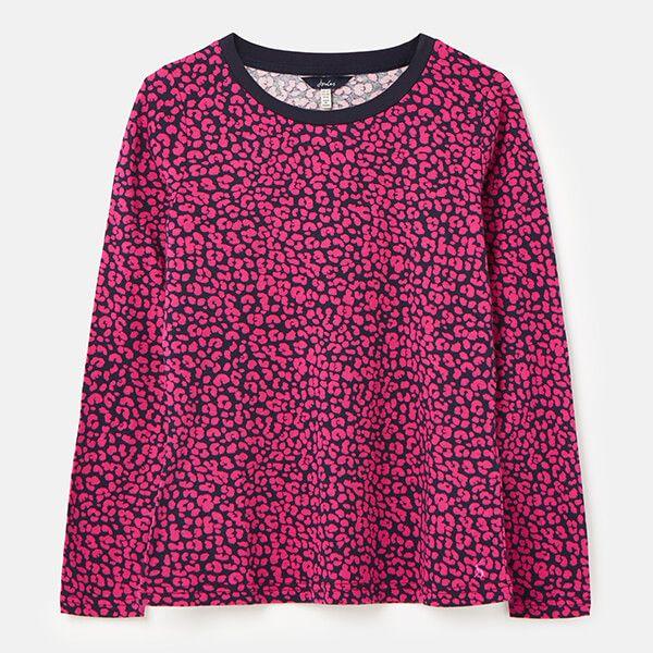 Joules Navy Leopard Selma Print Long Sleeve Jersey Top Size 16