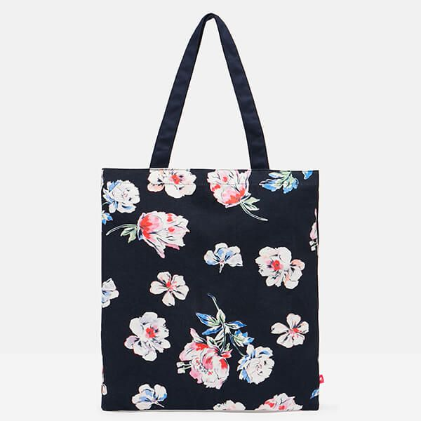 Joules Floral Navy LuLu Shopper Canvas Tote