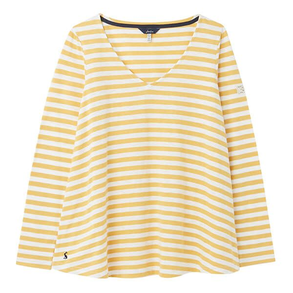 Joules Mustard Stripe Harbour Lighweight V Swing Jersey Top Size 14