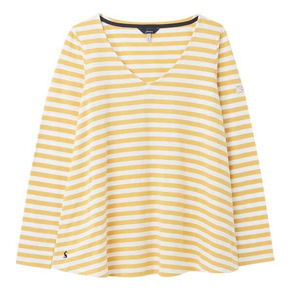 Joules Mustard Stripe Harbour Lighweight V Swing Jersey Top Size 18