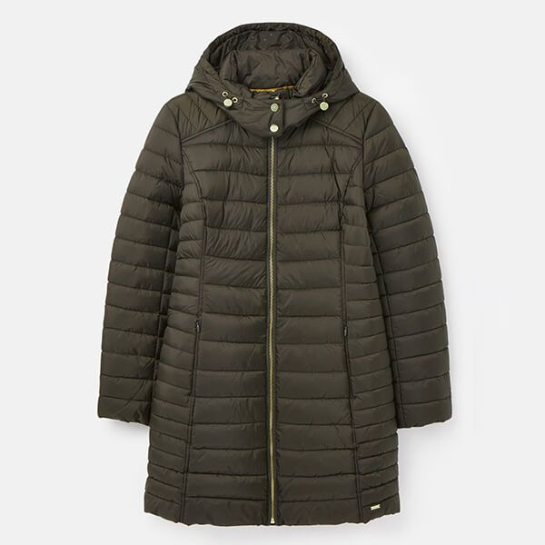 Joules Heritage Green Canterbury Long Luxe Padded Jacket Size 24