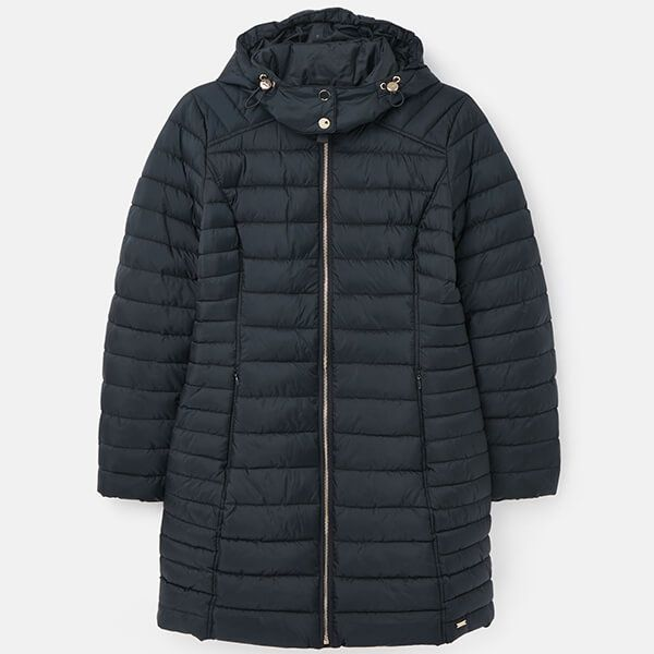 Joules Navy Canterbury Long Luxe Padded Jacket Size 18
